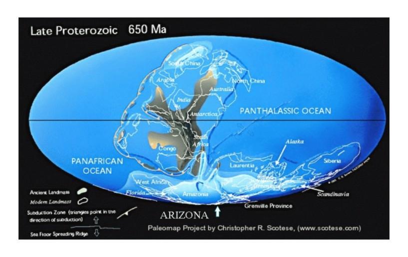 Arizona geologic history chapter 1 precambrian time when arizona paleomap 650 publicscrutiny Images