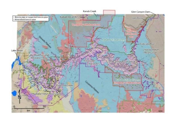 Breccia pipe locations AZ