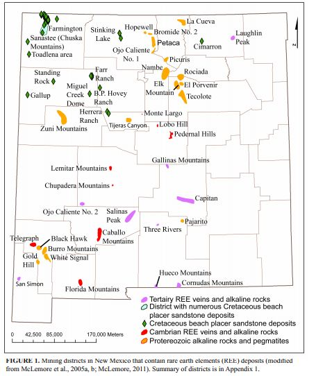 Rare earth deposits of New Mexico map