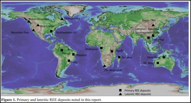 REE deposits location map