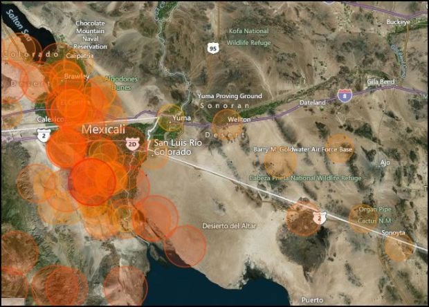 San luis earthquake map