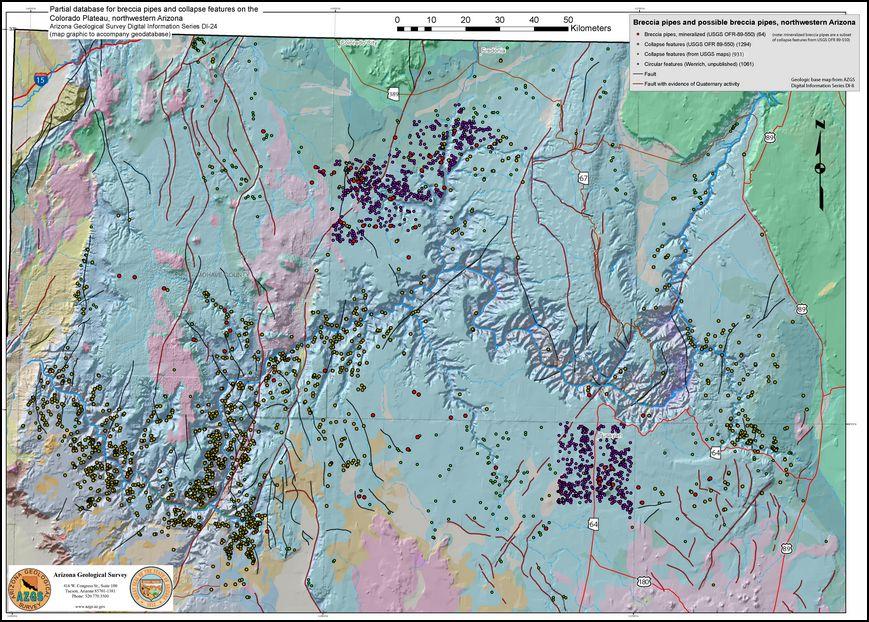 Breccia pipe map NW AZ Grand Canyon